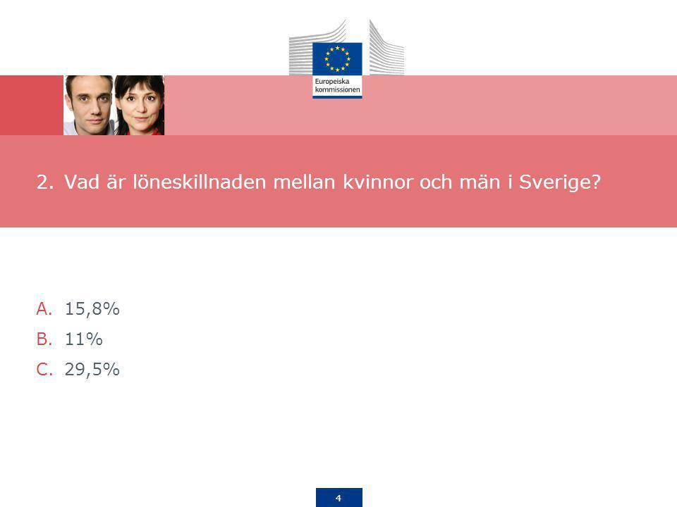 4 2.Vad är löneskillnaden mellan kvinnor och män i Sverige? A.15,8% B.11% C.29,5%