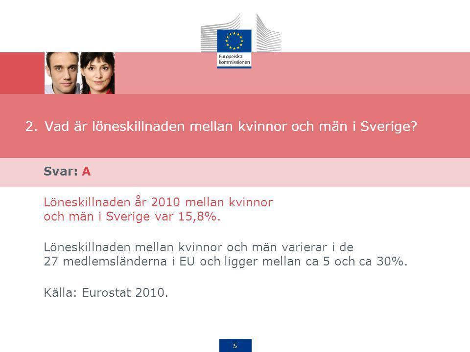 5 2.Vad är löneskillnaden mellan kvinnor och män i Sverige? Svar: A Löneskillnaden år 2010 mellan kvinnor och män i Sverige var 15,8%. Löneskillnaden