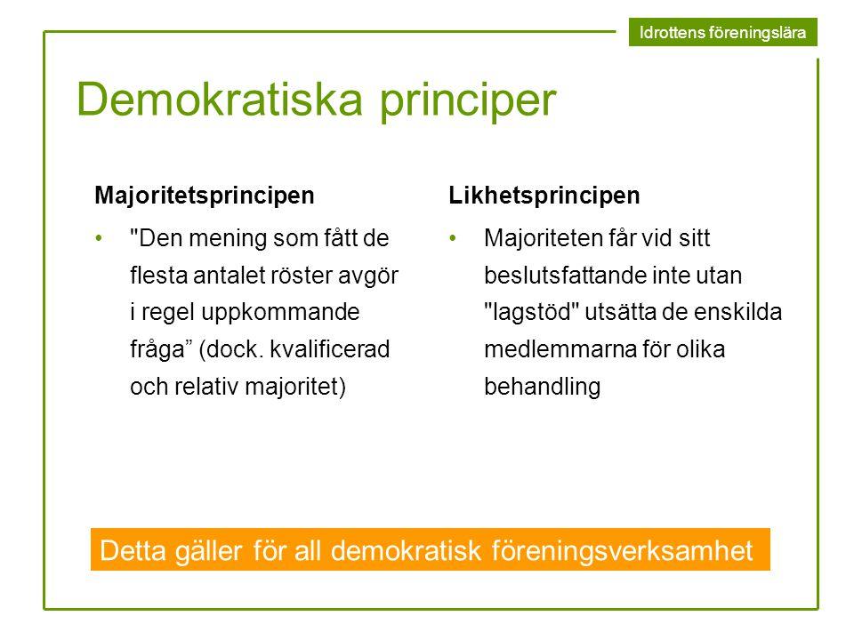 Idrottens föreningslära Demokratiska principer Majoritetsprincipen