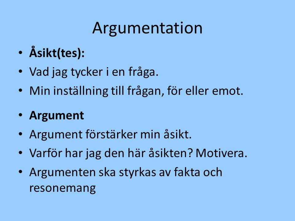 Argumentation Åsikt(tes): Vad jag tycker i en fråga.