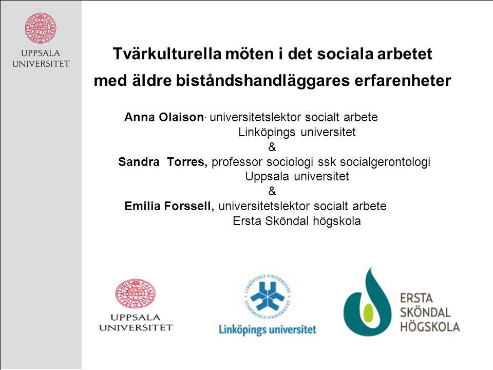 Syftet med presentationen Bakgrund till projektet & inklusive dess teoretiska ingångar Resultat från en delstudie som belyser biståndshandläggares uppfattningar av tvärkulturella möten och invandrarskap