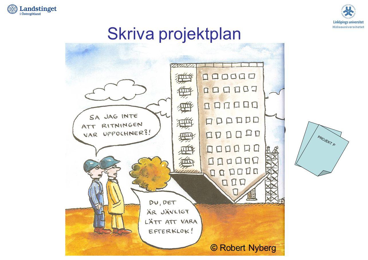 Skriva projektplan Projekttitel Projektdeltagare, roller i projektet Bakgrund / Introduktion Syfte / frågeställning (och ev hypotes) Metod Etiska över