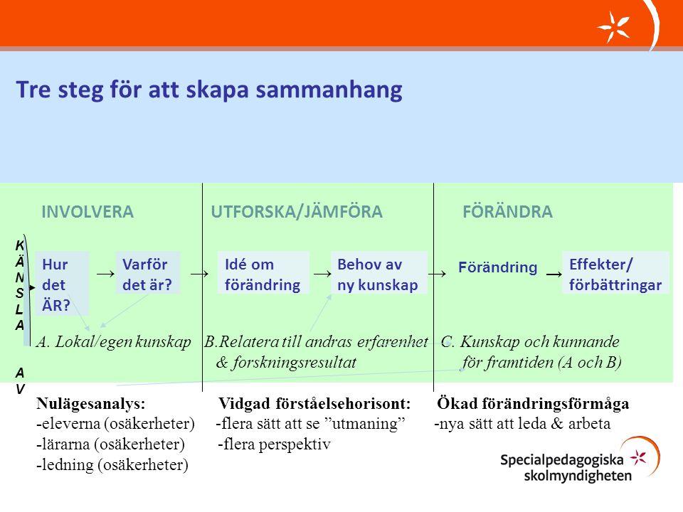 Tre steg för att skapa sammanhang INVOLVERA UTFORSKA/JÄMFÖRA FÖRÄNDRA Hur det ÄR? Varför det är? Idé om förändring Behov av ny kunskap Effekter/ förbä