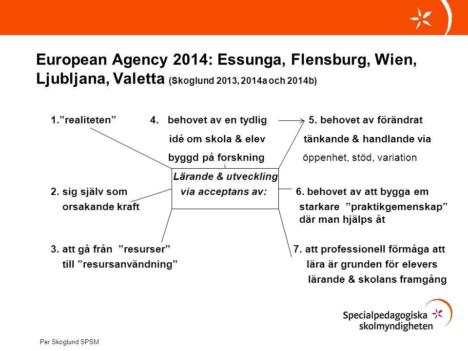 """European Agency 2014: Essunga, Flensburg, Wien, Ljubljana, Valetta (Skoglund 2013, 2014a och 2014b) 1.""""realiteten"""" 4. behovet av en tydlig 5. behovet"""