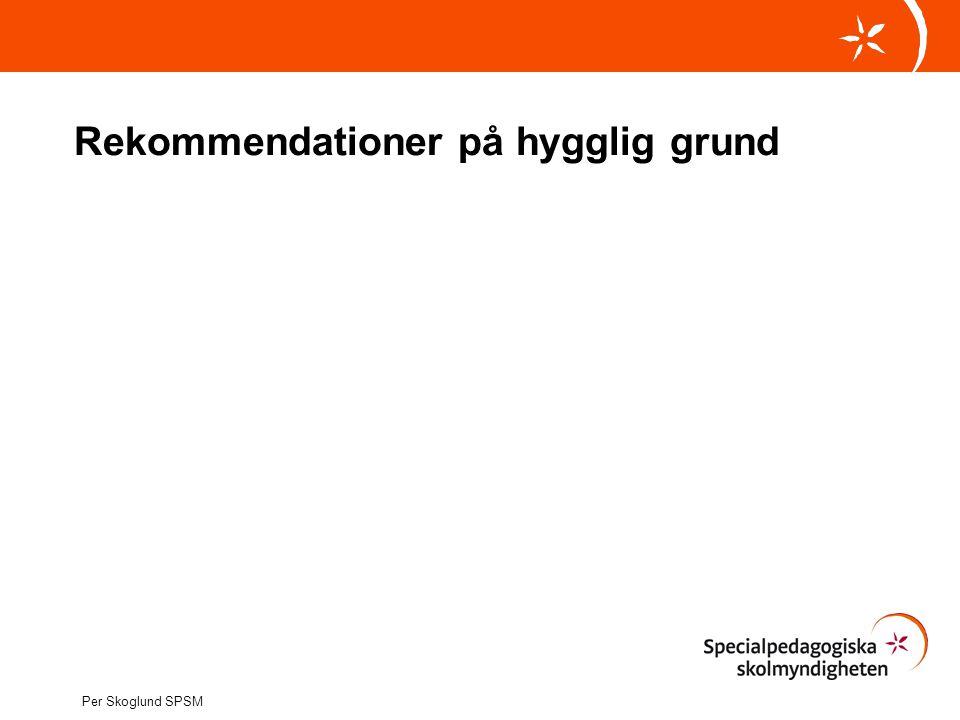 Rekommendationer på hygglig grund Per Skoglund SPSM