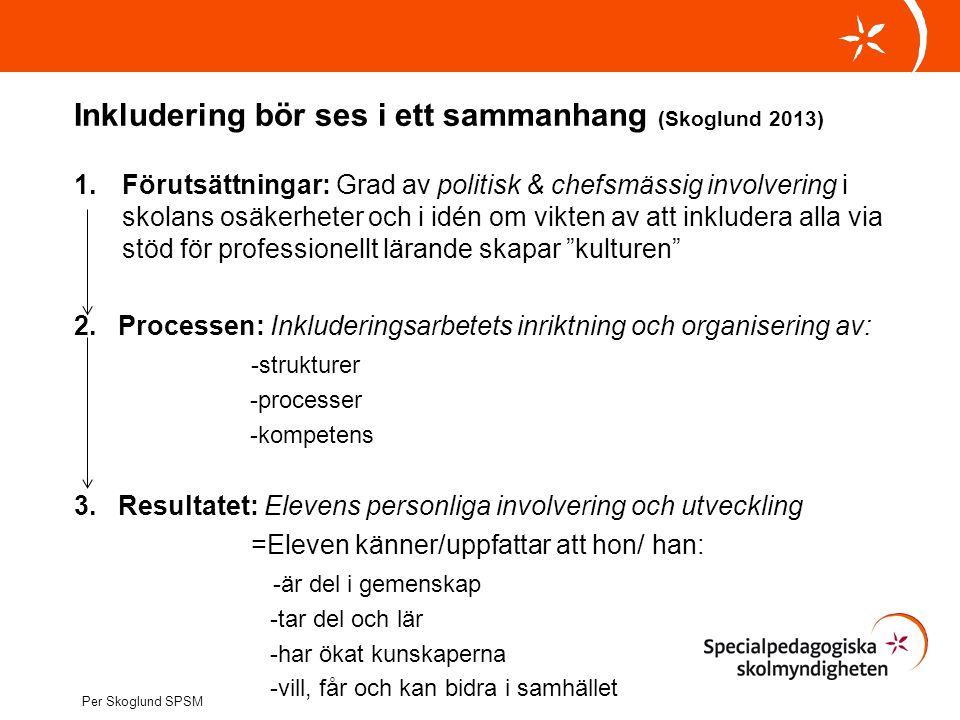 Inkludering bör ses i ett sammanhang (Skoglund 2013) 1.Förutsättningar: Grad av politisk & chefsmässig involvering i skolans osäkerheter och i idén om