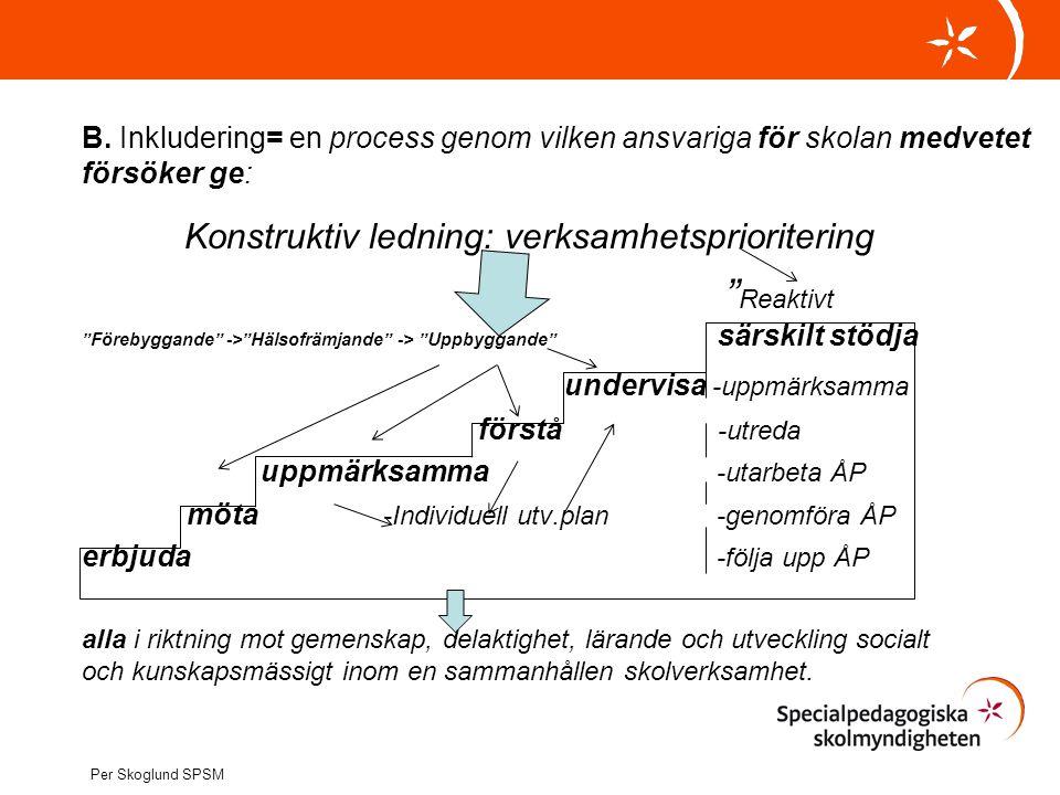 """B. Inkludering= en process genom vilken ansvariga för skolan medvetet försöker ge: Konstruktiv ledning: verksamhetsprioritering """" Reaktivt """"Förebyggan"""