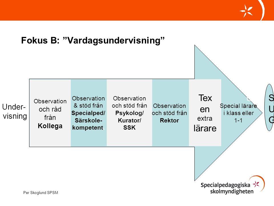 """Fokus B: """"Vardagsundervisning"""" Per Skoglund SPSM Observation och råd från Kollega Observation och stöd från Psykolog/ Kurator/ SSK Observation och stö"""