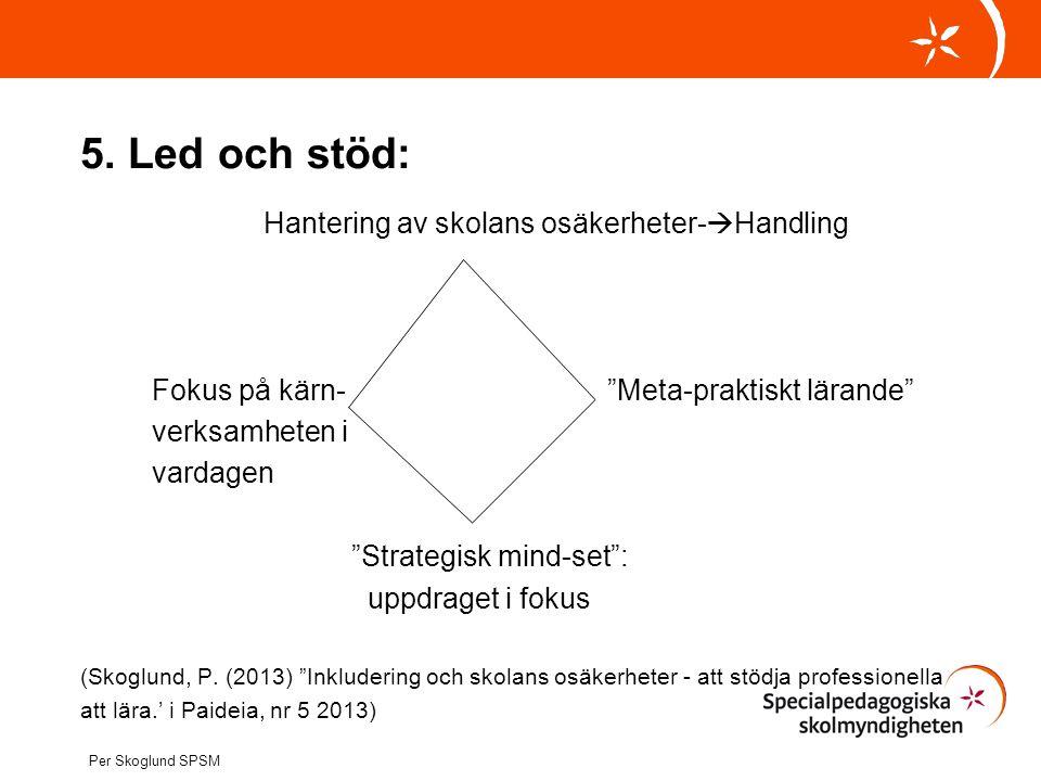 """5. Led och stöd: Hantering av skolans osäkerheter-  Handling Fokus på kärn- """"Meta-praktiskt lärande"""" verksamheten i vardagen """"Strategisk mind-set"""": u"""