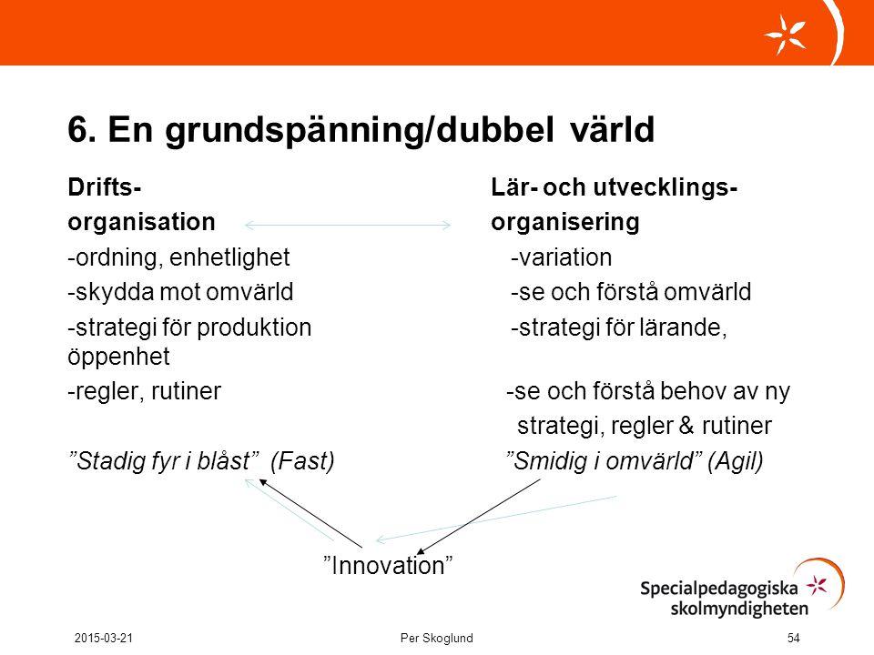 6. En grundspänning/dubbel värld Drifts- Lär- och utvecklings- organisation organisering -ordning, enhetlighet -variation -skydda mot omvärld -se och