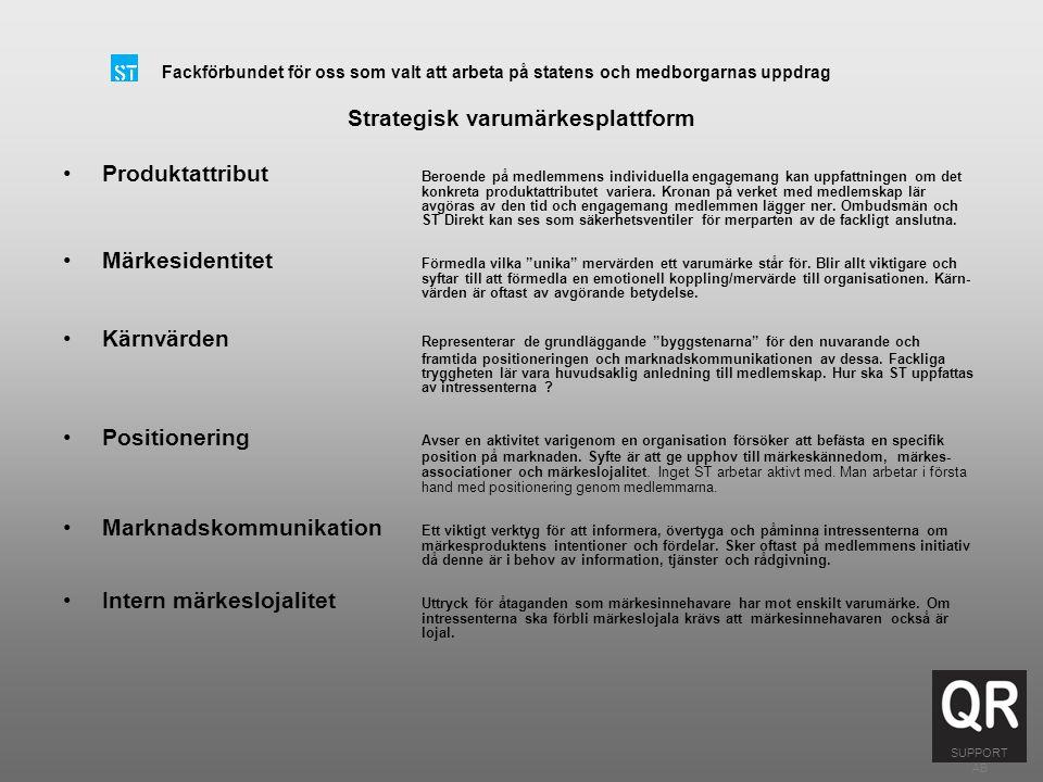 Fackförbundet för oss som valt att arbeta på statens och medborgarnas uppdrag Produktattribut Märkesidentitet Kärnvärde Positionering Marknadskommunik