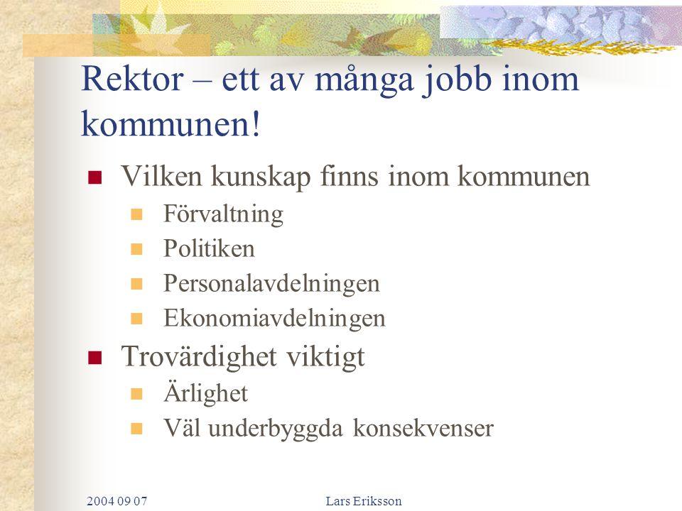 2004 09 07Lars Eriksson Viktiga framgångsfaktorer Strategier Vart är vi på väg Lagsammansättning Tydliga mandat och ansvar Full insyn Tjänstefördelning Ekonomi Lönekriterier Bra elev- och föräldrasamverkan