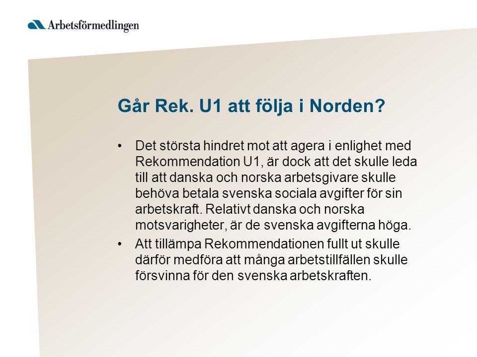 Parallell till faktiskt arbete i 2 länder Samma problematik även i de fall personer tar ett kompletterande arbete i Sverige, efter att först ha börjat arbeta i DK eller NO.