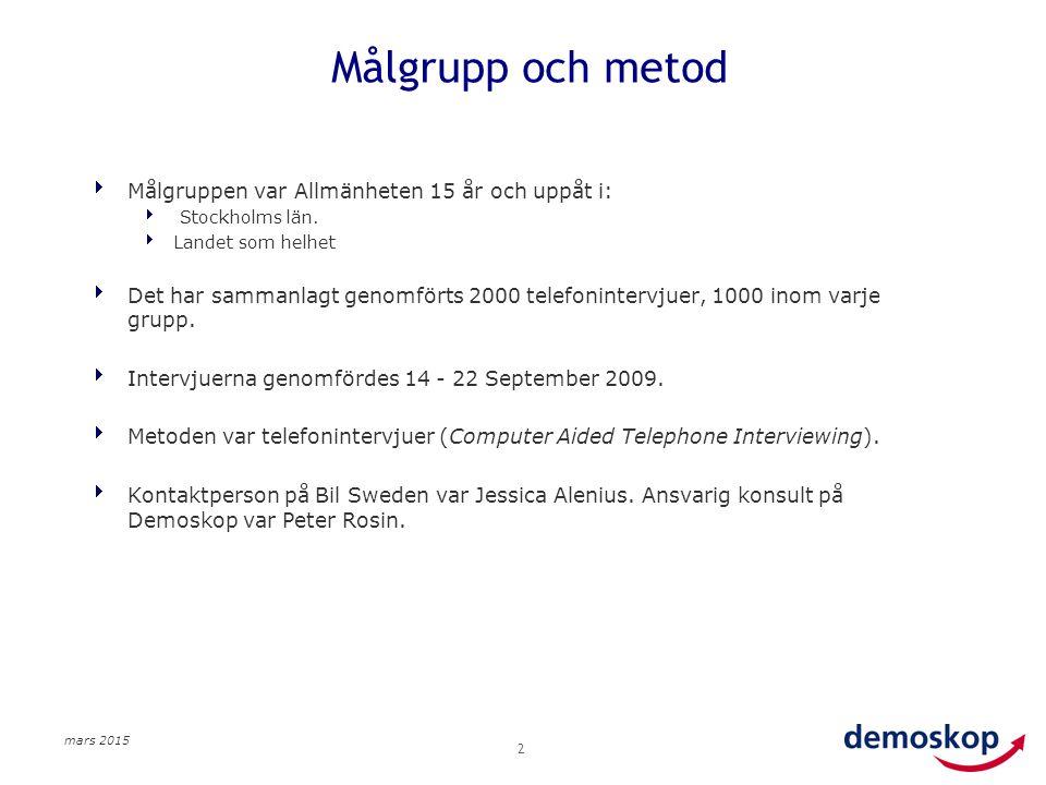 mars 2015 2 Målgrupp och metod  Målgruppen var Allmänheten 15 år och uppåt i:  Stockholms län.