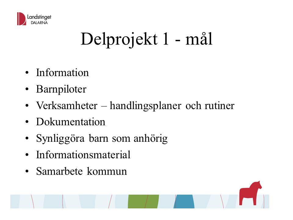 Delprojekt 1 - mål Information Barnpiloter Verksamheter – handlingsplaner och rutiner Dokumentation Synliggöra barn som anhörig Informationsmaterial Samarbete kommun
