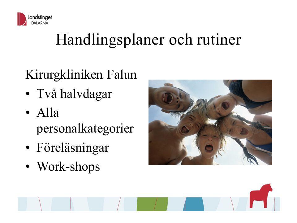 Handlingsplaner och rutiner Kirurgkliniken Falun Två halvdagar Alla personalkategorier Föreläsningar Work-shops
