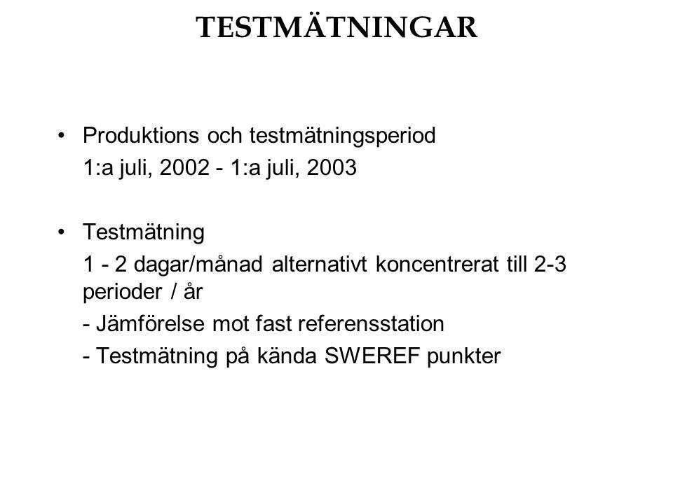 TESTMÄTNINGAR Produktions och testmätningsperiod 1:a juli, 2002 - 1:a juli, 2003 Testmätning 1 - 2 dagar/månad alternativt koncentrerat till 2-3 perioder / år - Jämförelse mot fast referensstation - Testmätning på kända SWEREF punkter