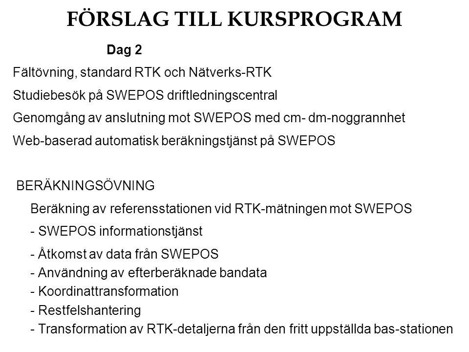 FÖRSLAG TILL KURSPROGRAM Dag 2 Fältövning, standard RTK och Nätverks-RTK Studiebesök på SWEPOS driftledningscentral Genomgång av anslutning mot SWEPOS med cm- dm-noggrannhet Web-baserad automatisk beräkningstjänst på SWEPOS BERÄKNINGSÖVNING Beräkning av referensstationen vid RTK-mätningen mot SWEPOS - SWEPOS informationstjänst - Åtkomst av data från SWEPOS - Användning av efterberäknade bandata - Koordinattransformation - Restfelshantering - Transformation av RTK-detaljerna från den fritt uppställda bas-stationen
