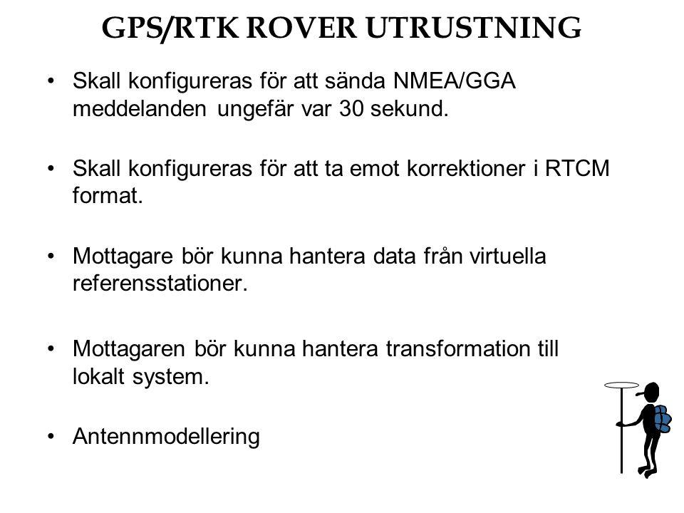 Skall konfigureras för att sända NMEA/GGA meddelanden ungefär var 30 sekund.