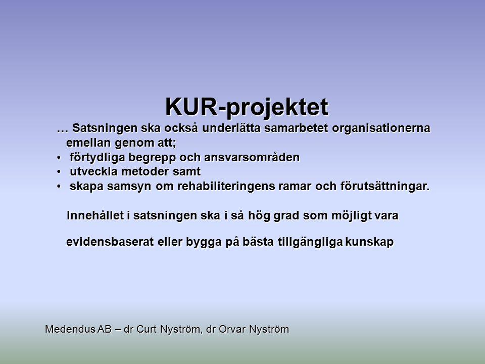 KUR-projektet … Satsningen ska också underlätta samarbetet organisationerna emellan genom att; förtydliga begrepp och ansvarsområden förtydliga begrep