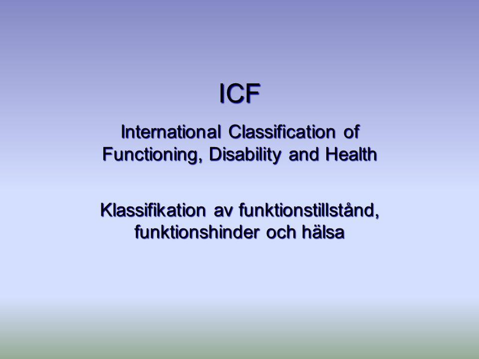 ICF International Classification of Functioning, Disability and Health Klassifikation av funktionstillstånd, funktionshinder och hälsa
