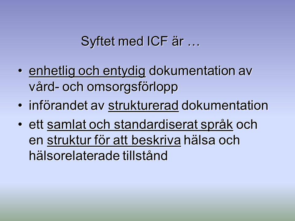 Syftet med ICF är … enhetlig och entydig dokumentation av vård- och omsorgsförloppenhetlig och entydig dokumentation av vård- och omsorgsförlopp inför