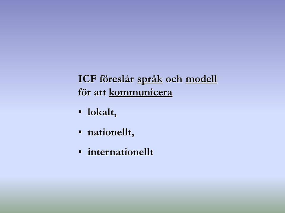 ICF föreslår språk och modell för att kommunicera lokalt, lokalt, nationellt, nationellt, internationellt internationellt