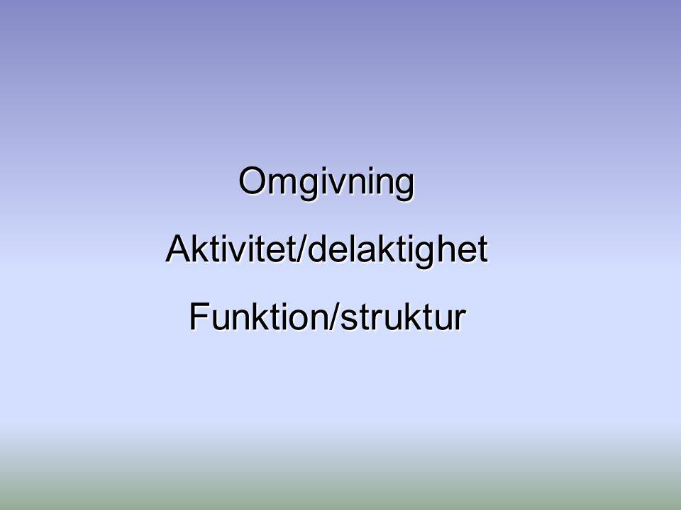 OmgivningAktivitet/delaktighetFunktion/struktur