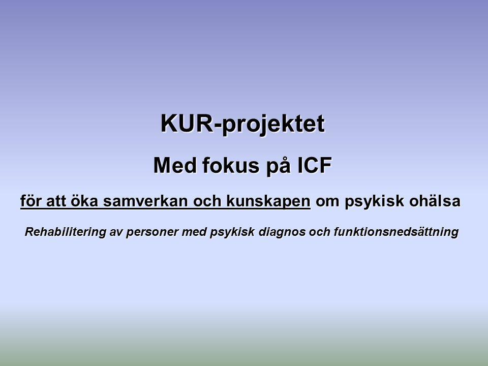 KUR-projektet Med fokus på ICF för att öka samverkan och kunskapen om psykisk ohälsa Rehabilitering av personer med psykisk diagnos och funktionsnedsä