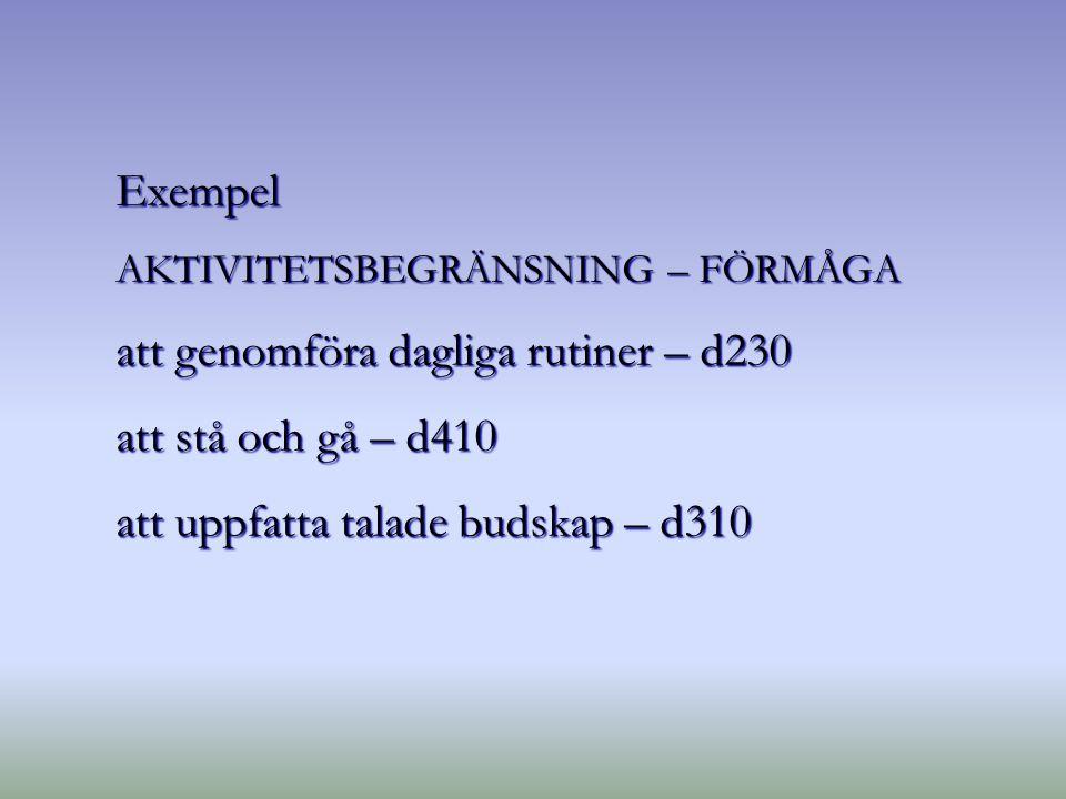 Exempel AKTIVITETSBEGRÄNSNING – FÖRMÅGA att genomföra dagliga rutiner – d230 att stå och gå – d410 att uppfatta talade budskap – d310