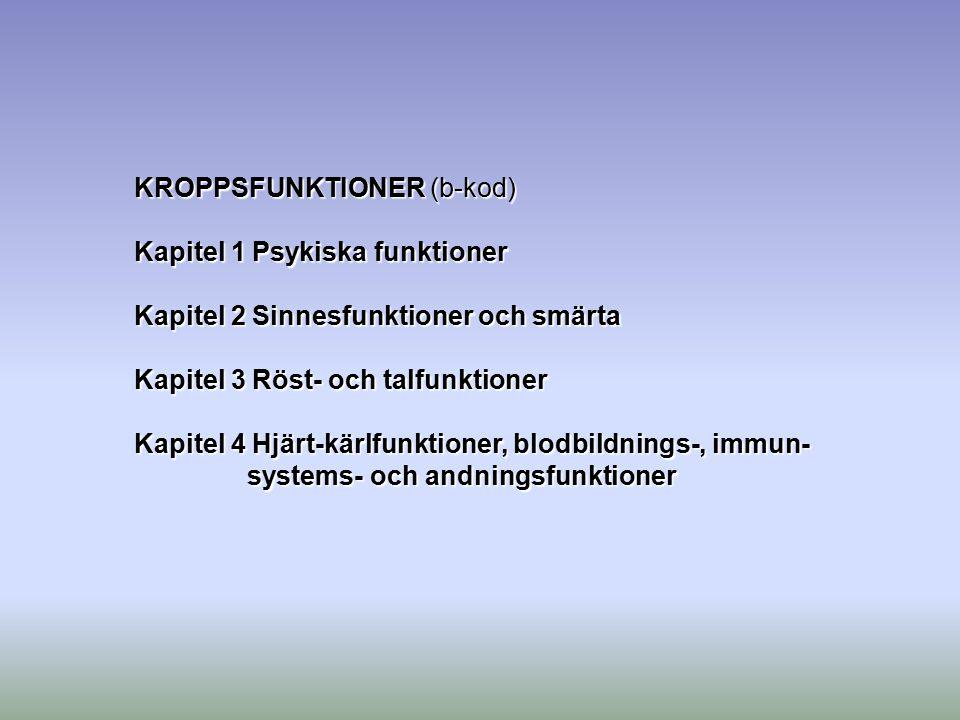 KROPPSFUNKTIONER (b-kod) Kapitel 1 Psykiska funktioner Kapitel 2 Sinnesfunktioner och smärta Kapitel 3 Röst- och talfunktioner Kapitel 4 Hjärt-kärlfun