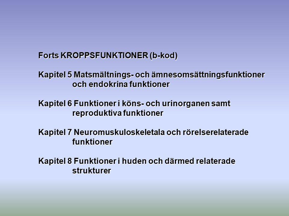 Forts KROPPSFUNKTIONER (b-kod) Kapitel 5 Matsmältnings- och ämnesomsättningsfunktioner och endokrina funktioner Kapitel 6 Funktioner i köns- och urino