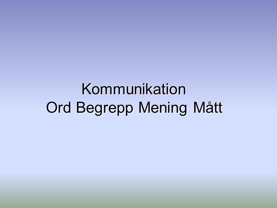 Kommunikation Ord Begrepp Mening Mått