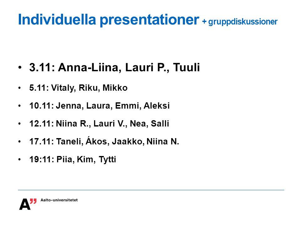 Individuella presentationer + gruppdiskussioner 3.11: Anna-Liina, Lauri P., Tuuli 5.11: Vitaly, Riku, Mikko 10.11: Jenna, Laura, Emmi, Aleksi 12.11: Niina R., Lauri V., Nea, Salli 17.11: Taneli, Ákos, Jaakko, Niina N.