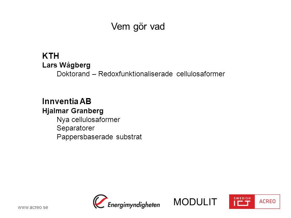 www.acreo.se MODULIT KTH Lars Wågberg Doktorand – Redoxfunktionaliserade cellulosaformer Innventia AB Hjalmar Granberg Nya cellulosaformer Separatorer