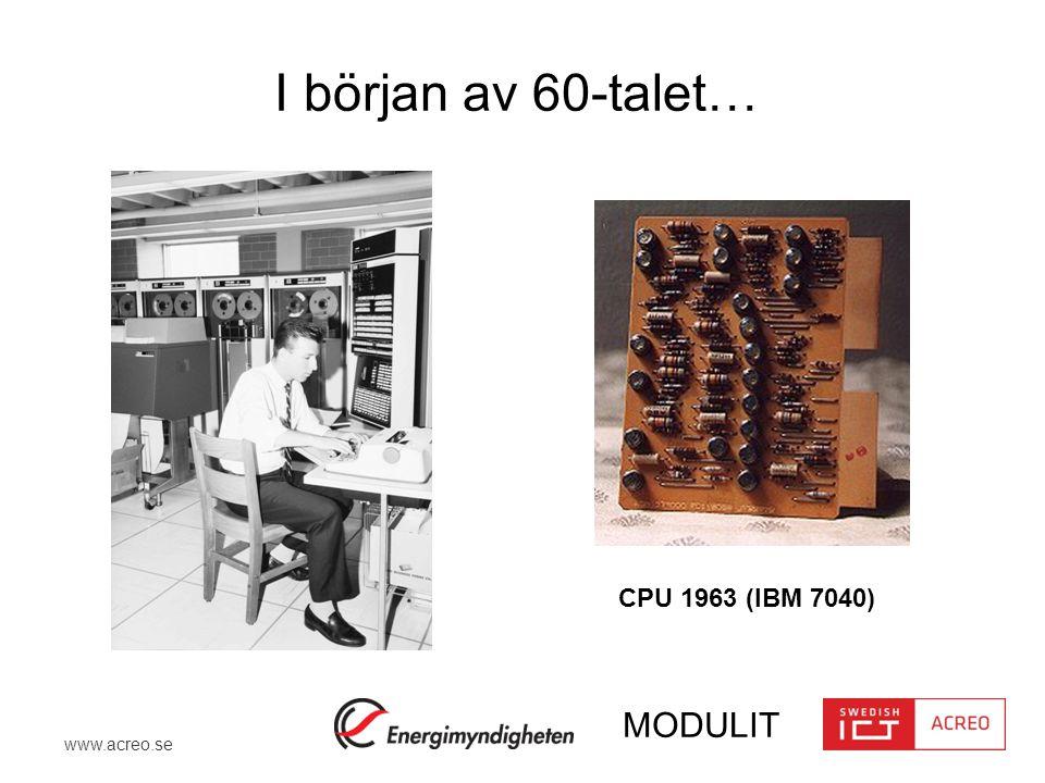 www.acreo.se MODULIT Diskret krets CPU 1963 Monolithically Integrated Circuits (IC) CPU 2014 Från diskreta till integrerade kretsar En utveckling som inte bara revolutionerat elektronikindustrin utan hela samhället