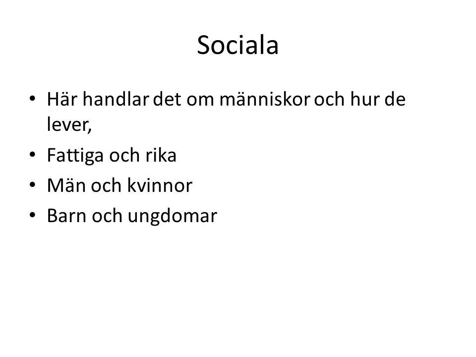 Sociala Här handlar det om människor och hur de lever, Fattiga och rika Män och kvinnor Barn och ungdomar