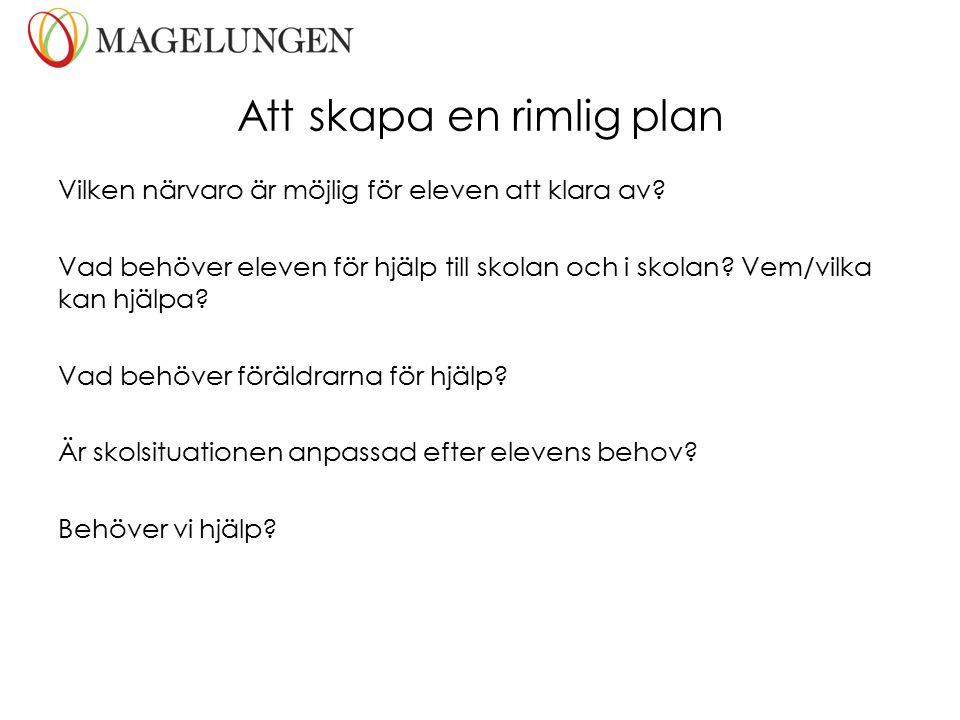 Att skapa en rimlig plan Vilken närvaro är möjlig för eleven att klara av? Vad behöver eleven för hjälp till skolan och i skolan? Vem/vilka kan hjälpa