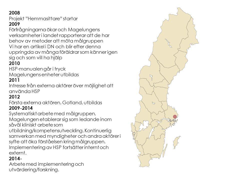 """2008 Projekt """"Hemmasittare"""" startar 2009 Förfrågningarna ökar och Magelungens verksamheter i landet rapporterar att de har behov av metoder att möta m"""