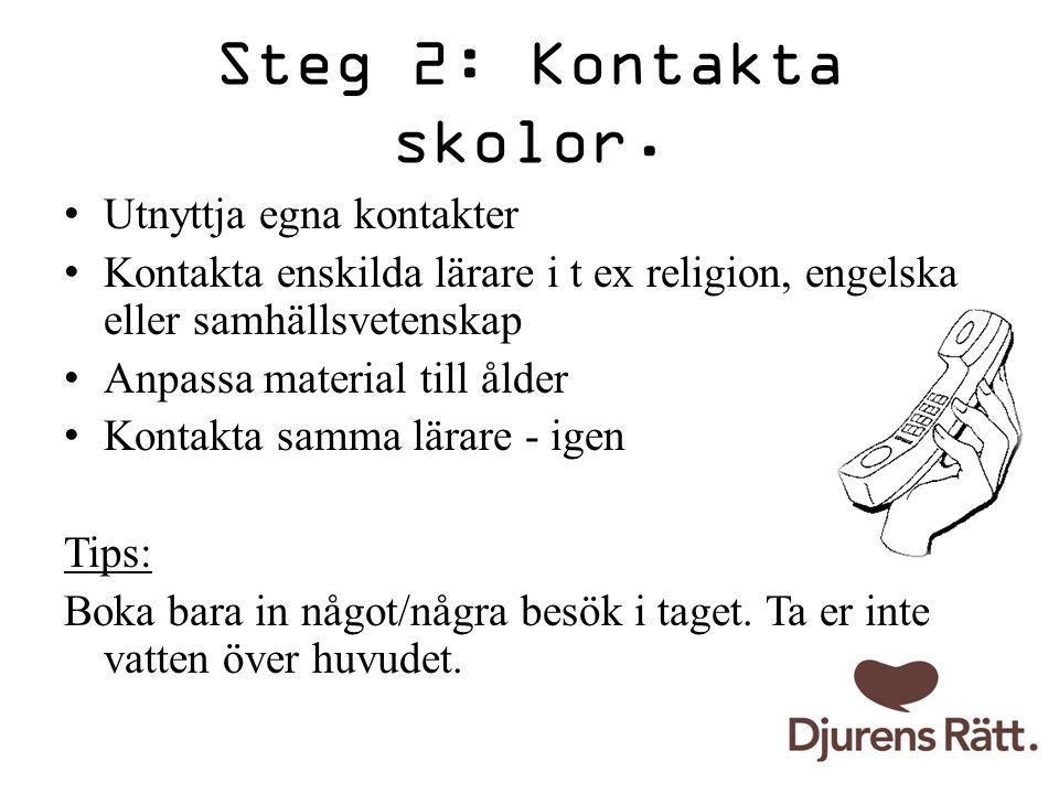 Steg 2: Kontakta skolor. Utnyttja egna kontakter Kontakta enskilda lärare i t ex religion, engelska eller samhällsvetenskap Anpassa material till ålde