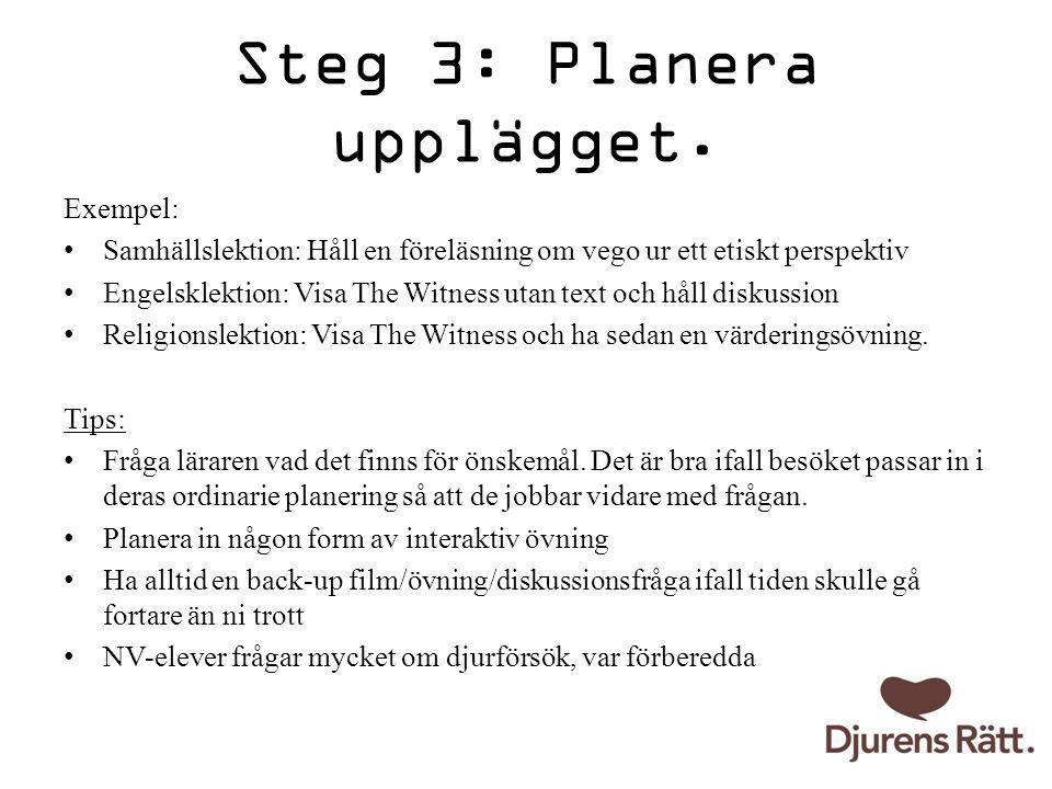 Steg 3: Planera upplägget.