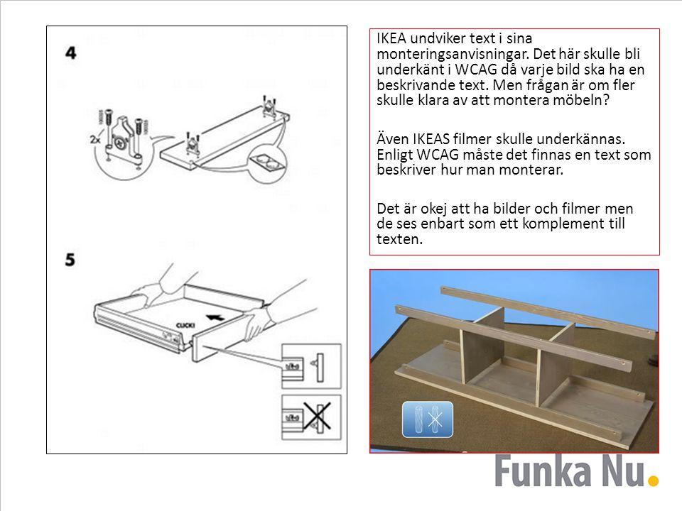 IKEA undviker text i sina monteringsanvisningar. Det här skulle bli underkänt i WCAG då varje bild ska ha en beskrivande text. Men frågan är om fler s