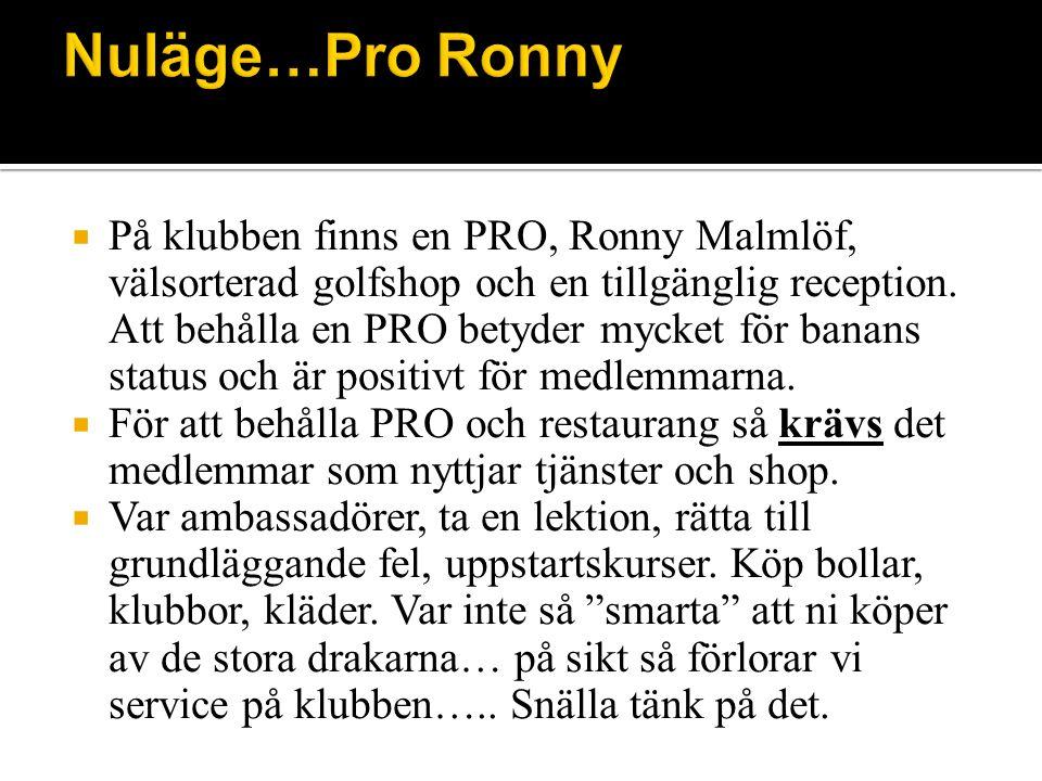  På klubben finns en PRO, Ronny Malmlöf, välsorterad golfshop och en tillgänglig reception.