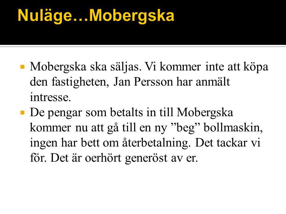  Mobergska ska säljas. Vi kommer inte att köpa den fastigheten, Jan Persson har anmält intresse.
