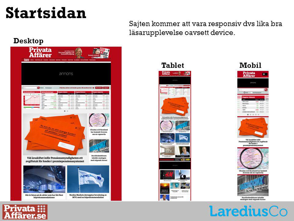 Desktop TabletMobil Startsidan Sajten kommer att vara responsiv dvs lika bra läsarupplevelse oavsett device.