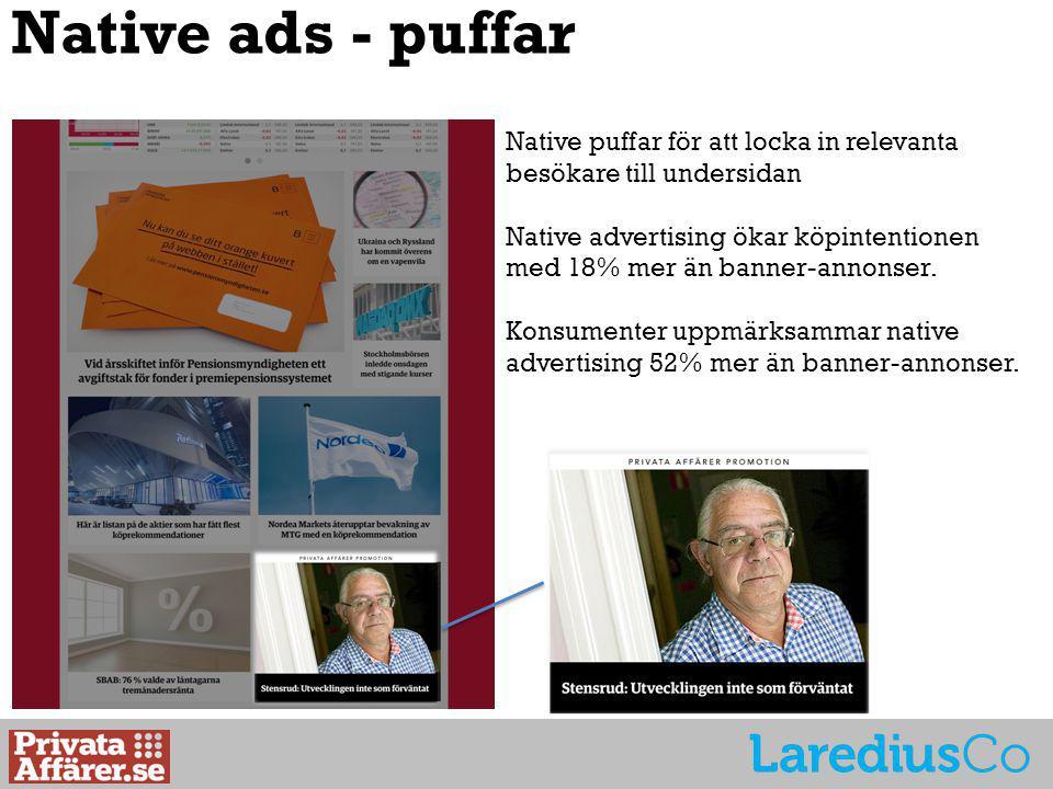 Native ads - puffar Native puffar för att locka in relevanta besökare till undersidan Native advertising ökar köpintentionen med 18% mer än banner-annonser.