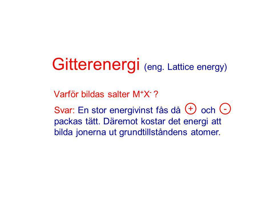 Gitterenergi (eng.Lattice energy) Varför bildas salter M + X - .