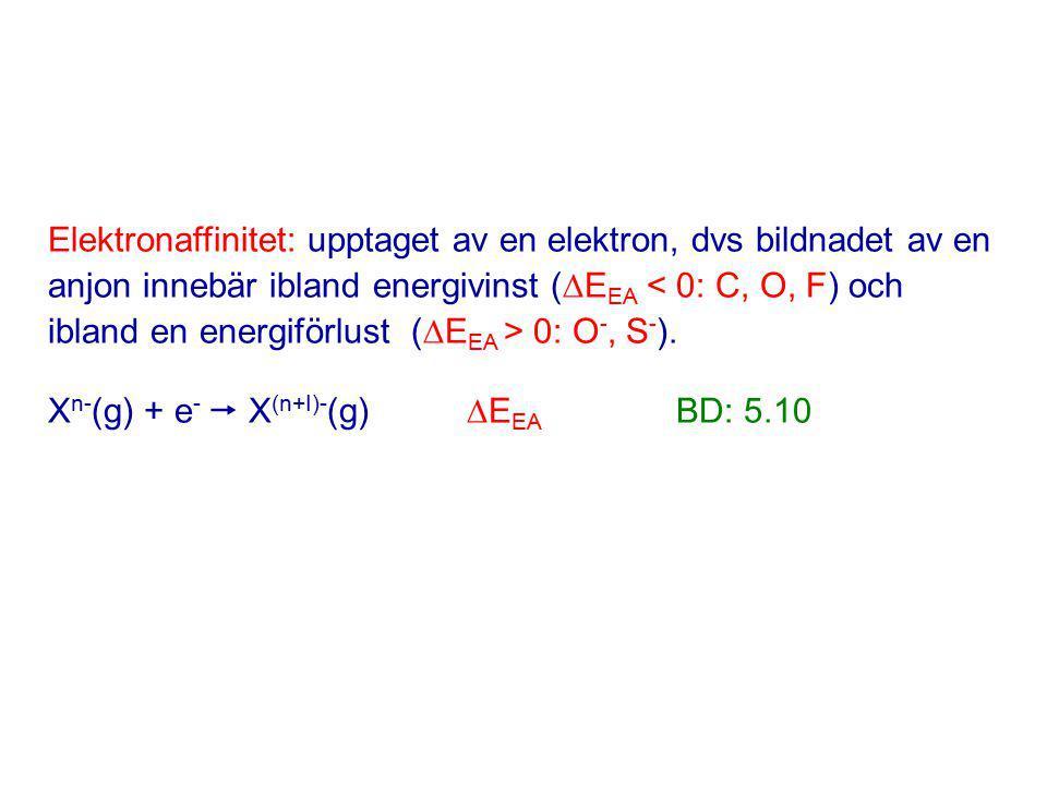 Elektronaffinitet: upptaget av en elektron, dvs bildnadet av en anjon innebär ibland energivinst (  E EA 0: O -, S - ).