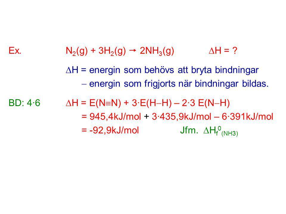 Ex.N 2 (g) + 3H 2 (g)  2NH 3 (g)  H = .