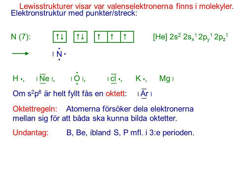 Elektronstruktur med punkter/streck: N (7): [He] 2s 2 2s x 1 2p y 1 2p z 1   N H, l Ne l, l O l, l cl, K, Mg l Om s 2 p 6 är helt fyllt fås en oktett: l Ar l Oktettregeln: Atomerna försöker dela elektronerna mellan sig för att båda ska kunna bilda oktetter.
